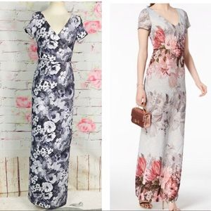 Adrianna papell matelasse column floral long gown